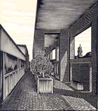 Library Terrace Woodcut by John DePol