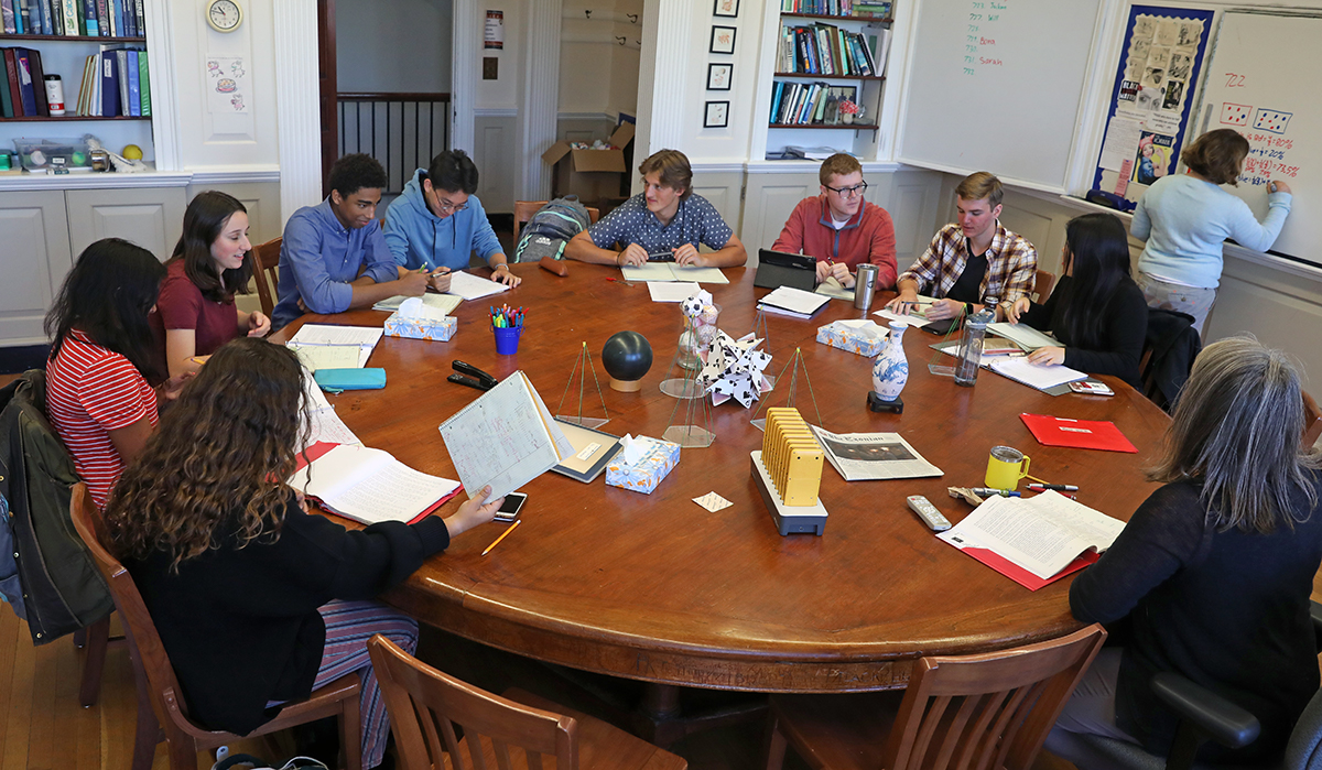 Students in a math class at Phillips Exeter Academy.