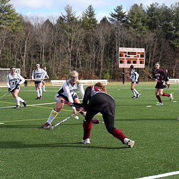 A field hockey match taking place on Hatch Field