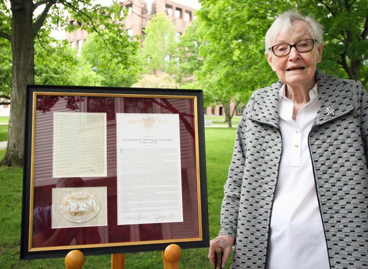 Jackie Thomas with the Founders' Day Award