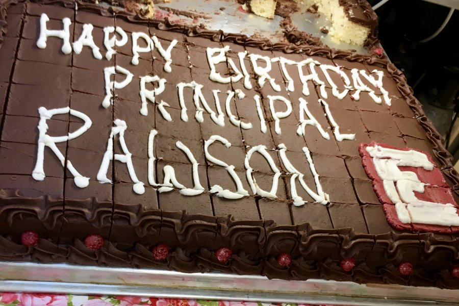 The Dining Services team earned straight A's with this birthday cake for Principal Bill Rawson.