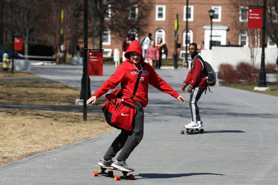 Skateboarders take to the paths on the last day of winter 2019.