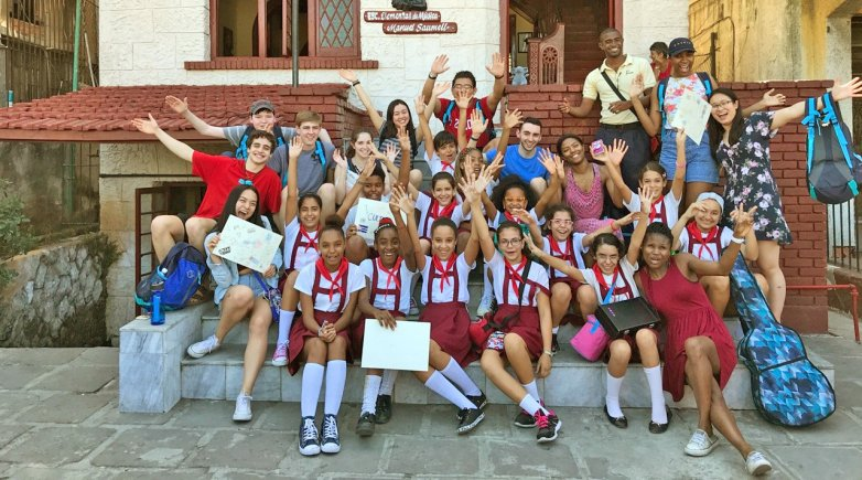 Exeter students pose for a photo while exploring Havana, Cuba.