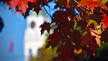 Academy Building bell tower seen through fall foliage.