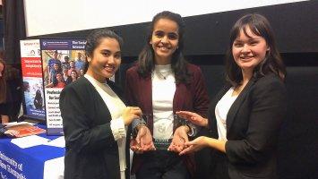 Magisha Thohir, Menat Bahnasy, and Maya Kim after receiving their first place trophy.