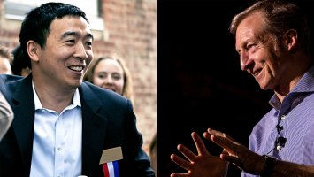 Andrew Yang and Tom Steyer on the campaign trail