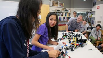 Students in a robotics class at Exeter Summer