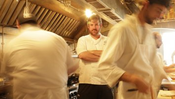 Chef Jason Goodenough in the kitchen of his New Orleans restaurant