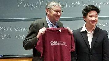 Gregory Mankiw, Professor of Economics at Harvard University, with James Lin '18.