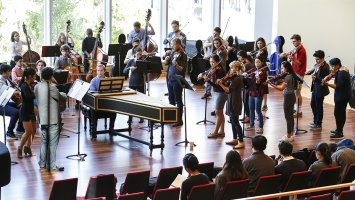 Members of Exeter's Chamber Orchestra perform with A Far Cry