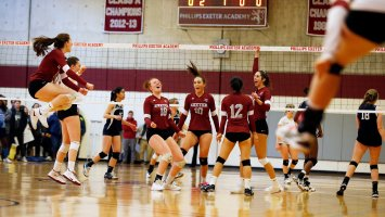 Girls volleyball game at Phillips Exeter Academy.