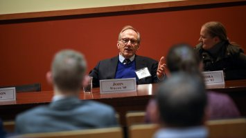 Exeter alumni speak at a panel titled Exeter Salutes.