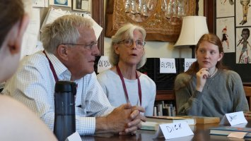 Janet Taylor Lisle and her husband Dick Lisle sit in on Exeter English class