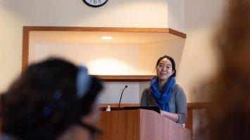 Julie Park addresses Exonians in the Forum