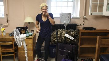 An Exeter student moving into her dorm room at Exeter.