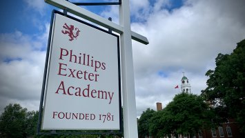 Phillips Exeter Academy sign in front of the Bell Tower