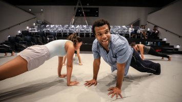 Curtis Thomas '09 returned to campus to work with Exeter's dance company in the Goel Center for Theater and Dance.