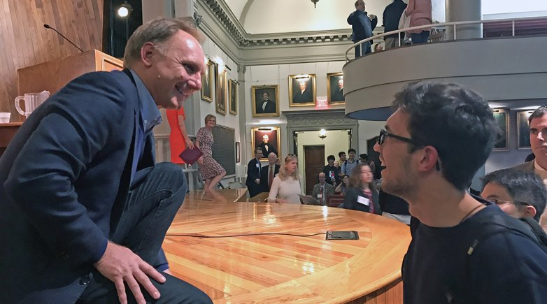 Author Dan Brown speaks to Phillips Exeter students at assembly.