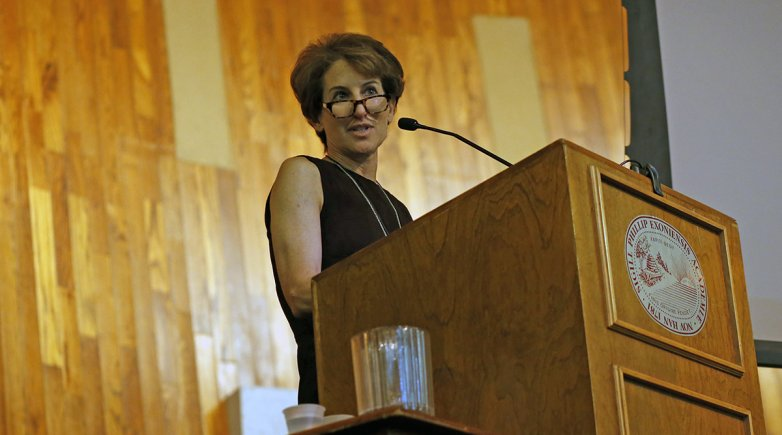 Author Stacy Schiff speaks at Exeter.