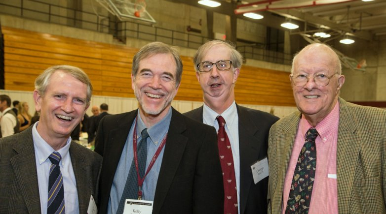 Curt Perry '69, Kelly Teevan '69, George Bain '69 and Joe Bain '41 at Exeter Leadership Weekend.