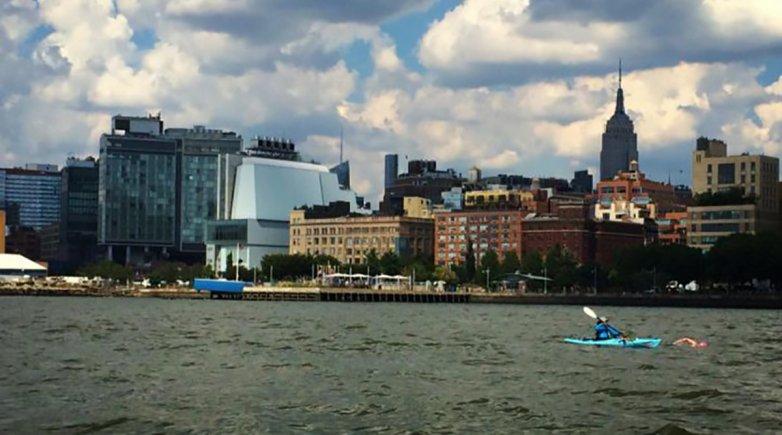 Rebecca Nevitt swimming around the island of Manhattan in 2015.