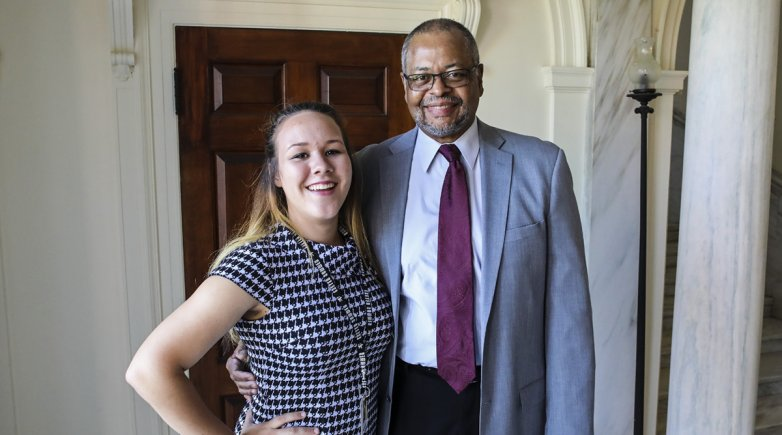 Wendell Knox, Exeter Summer class of '64 with his granddaughter Veronika, member of the 2017 Exeter Summer cohort.