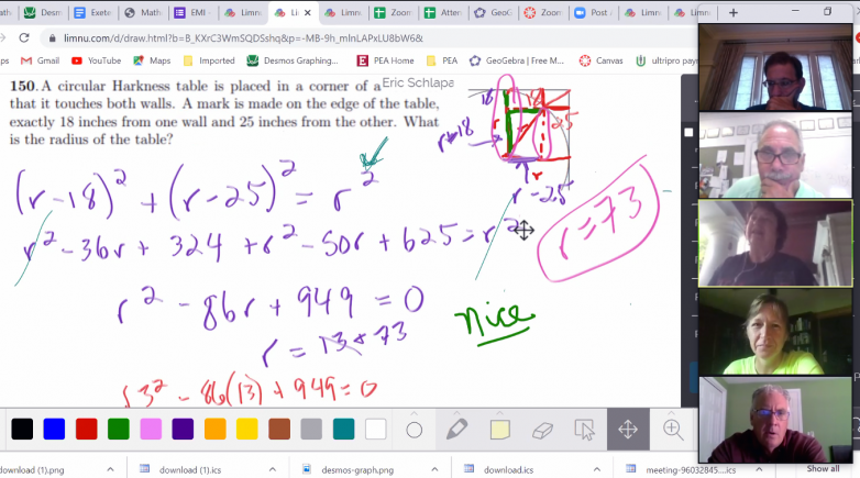 Screen shot of several people analyzing a math problem using an online whiteboard.