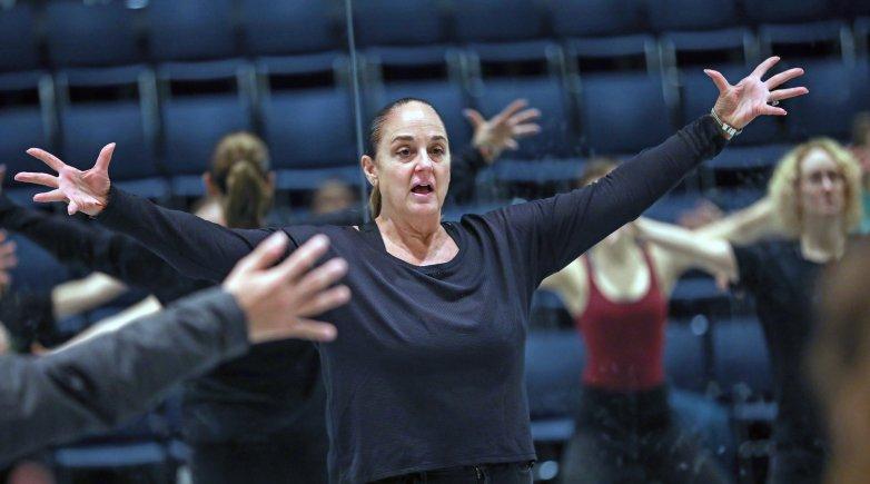 Jazz dance master Nan Giordano leads class in Exeter's Dance Studio