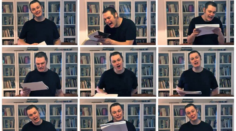 Collage of scenes from Ilya Kaminsky's reading