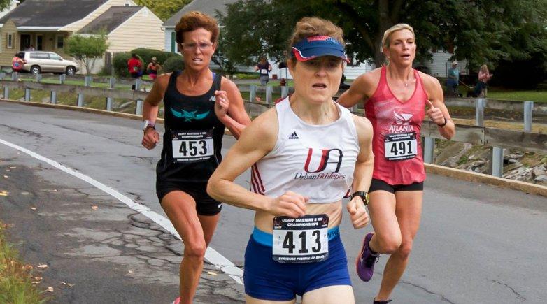 Fiona running in a marathon.