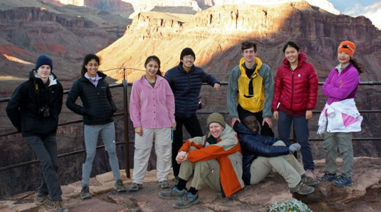 Photo of eight Exeter students who traveled to Arizona and the desert Southwest for a weeklong trip featuring hiking and wilderness camping.