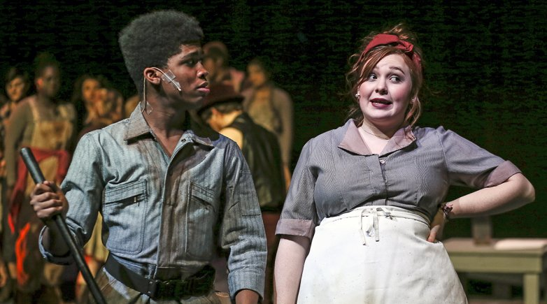 "Jacob Hunter and Daisy Tichenor in Exeter's production of ""Urinetown: the Musical."""