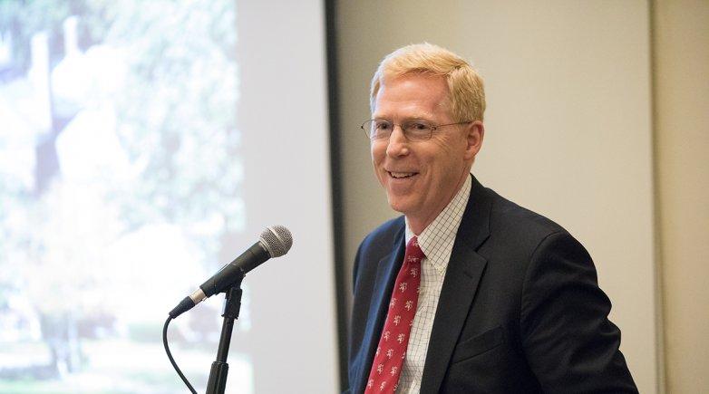 Principal Bill Rawson speaks at Exeter event