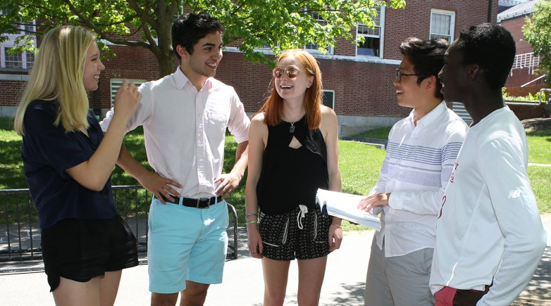 Tommy Cefalu with friends in Academic quad.