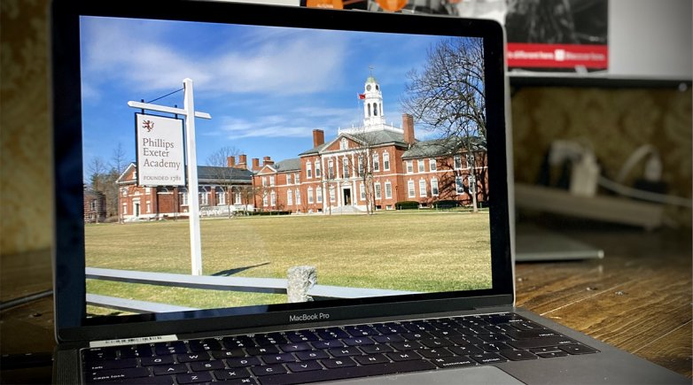An image of the Academy Building on a computer screen
