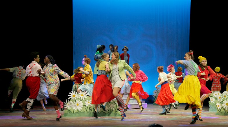 Some of the cast of The Wizard of Oz perform on the Goel Center's mainstage.