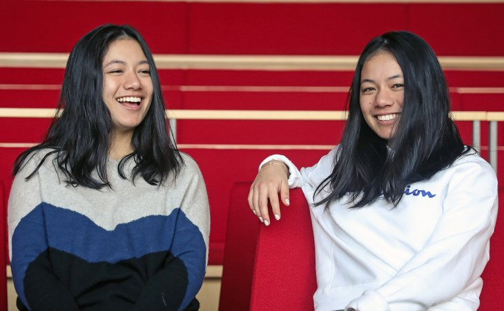 Anjali and Meili Gupta seated in The Bowld at Exeter.