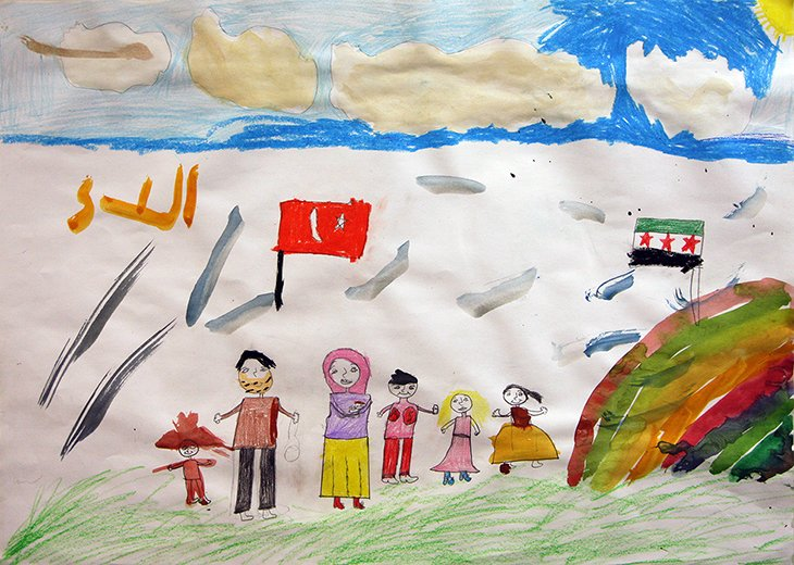 Drawing of Syrian family
